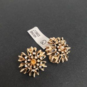 St. John Large Enamel Pearl Flower Clip Earrings